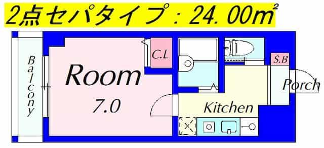 ピュアドミトリーシミズ(2点セパ)の間取り図のサムネイル