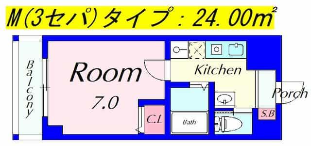 ピュアドミトリーシミズ(3点セパ)の間取り図のサムネイル