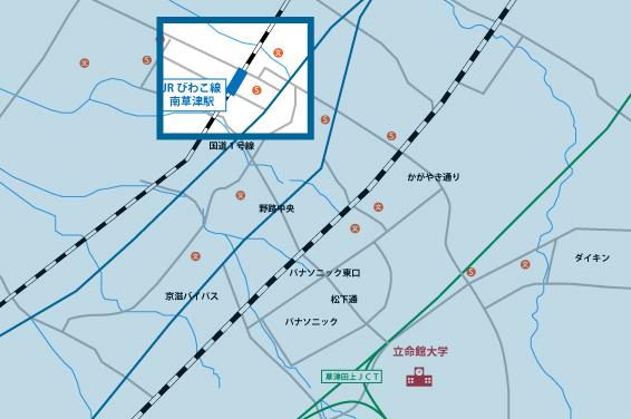 南草津駅前エリアの地図
